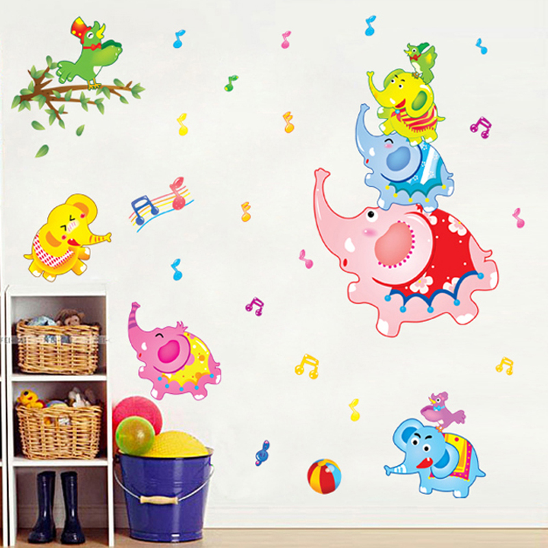 Kindergarten classroom bedroom wall stickers children's room cartoon elephant amusement park klimts waterproof stickers can be removed