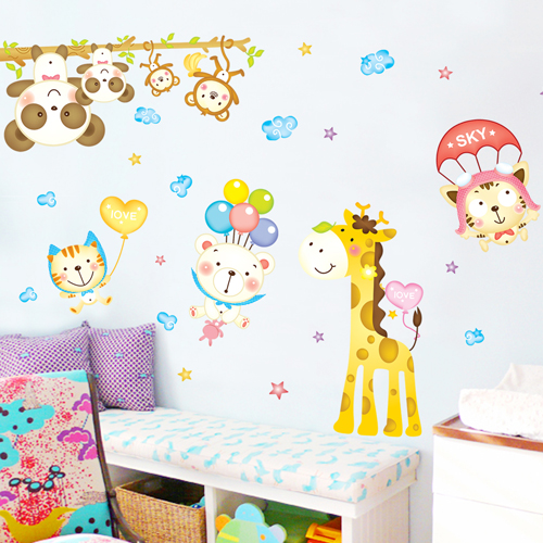 Kindergarten classroom wall stickers bedroom wall stickers stickers cartoon giraffe children's room decorative wall stickers