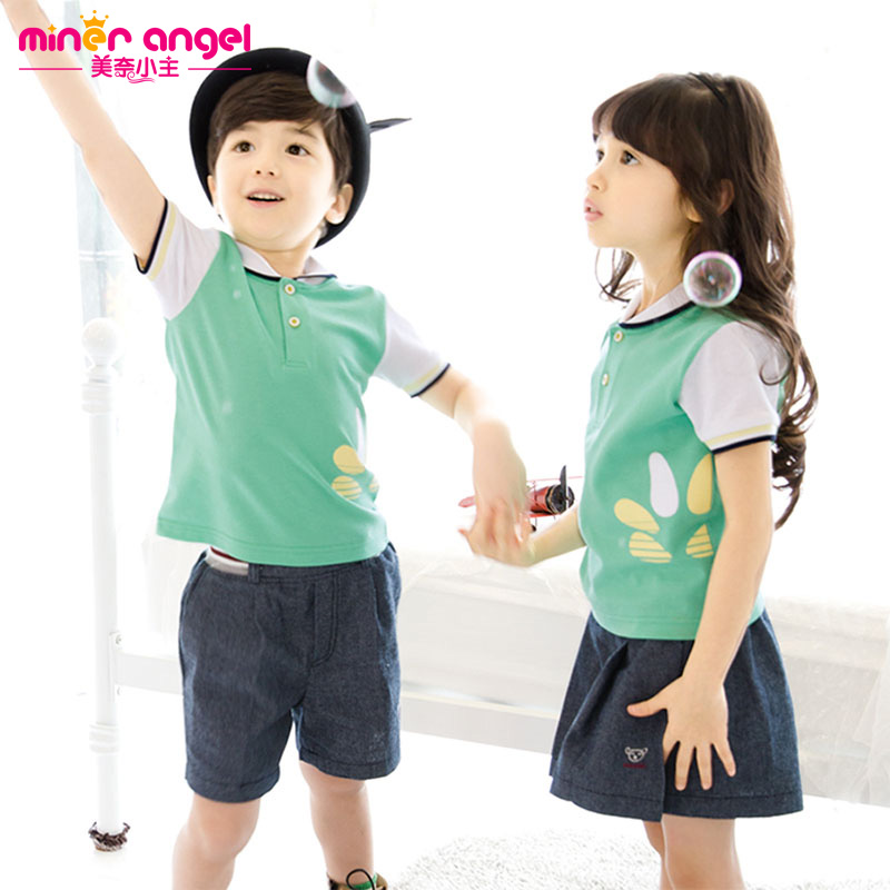 Kindergarten students dress summer paragraph summer suit new korean version of primary and secondary school uniforms for children kindergarten summer dress uniforms