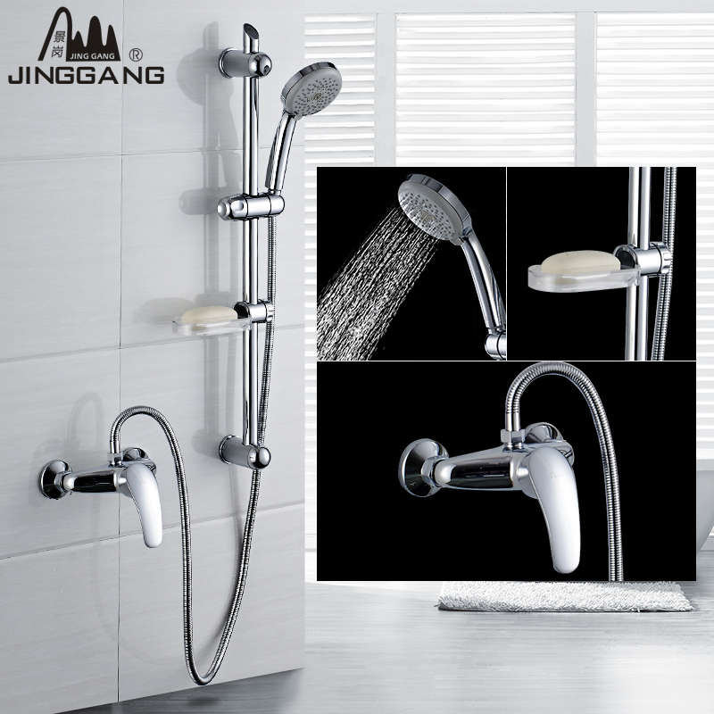 King kong full suite bathroom shower bathroom full copper hot and cold shower faucet can lift with aeration nozzle