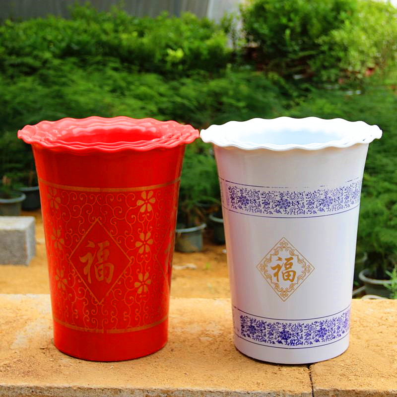 King thick plastic imitation ceramic pots word blessing large pachira scindapsus pots dedicated beat two send tray