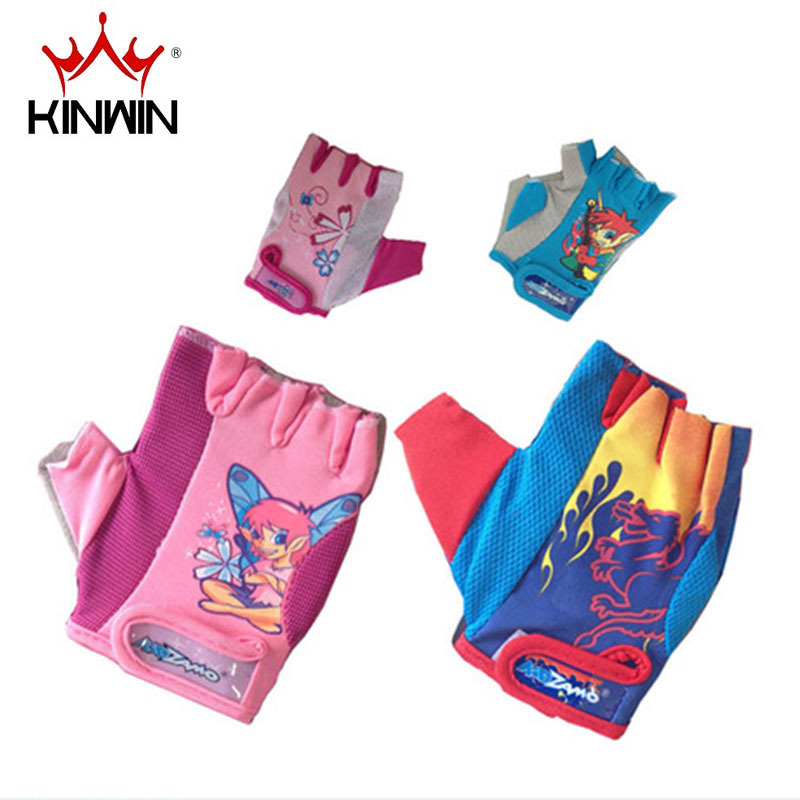 Kinwin skate skateboard skating outdoor sports bike gloves bike riding gloves half finger gloves for children