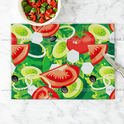 Kiwi fruit in the world lemon strawberry watermelon pattern tempered glass cutting board chopping chopping board cutting board cut fruit plate dish