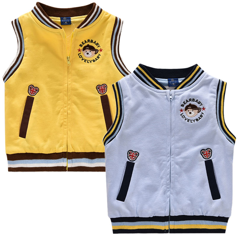 Korea bear kids boys double cotton baby vest vest vest in children 16 children 20 spring and autumn new