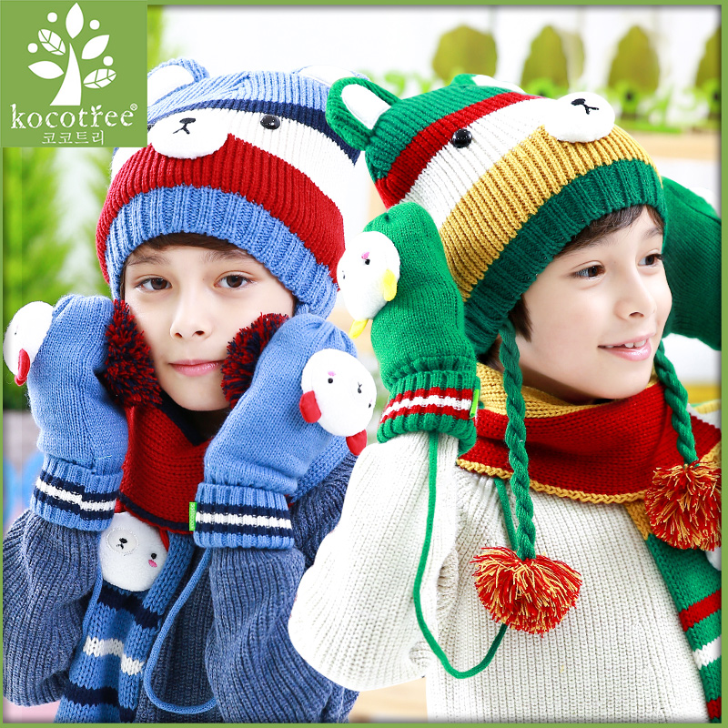 Korea kk tree 2016 new cute bear male and female baby hat in autumn and winter children's hats scarves gloves three sets