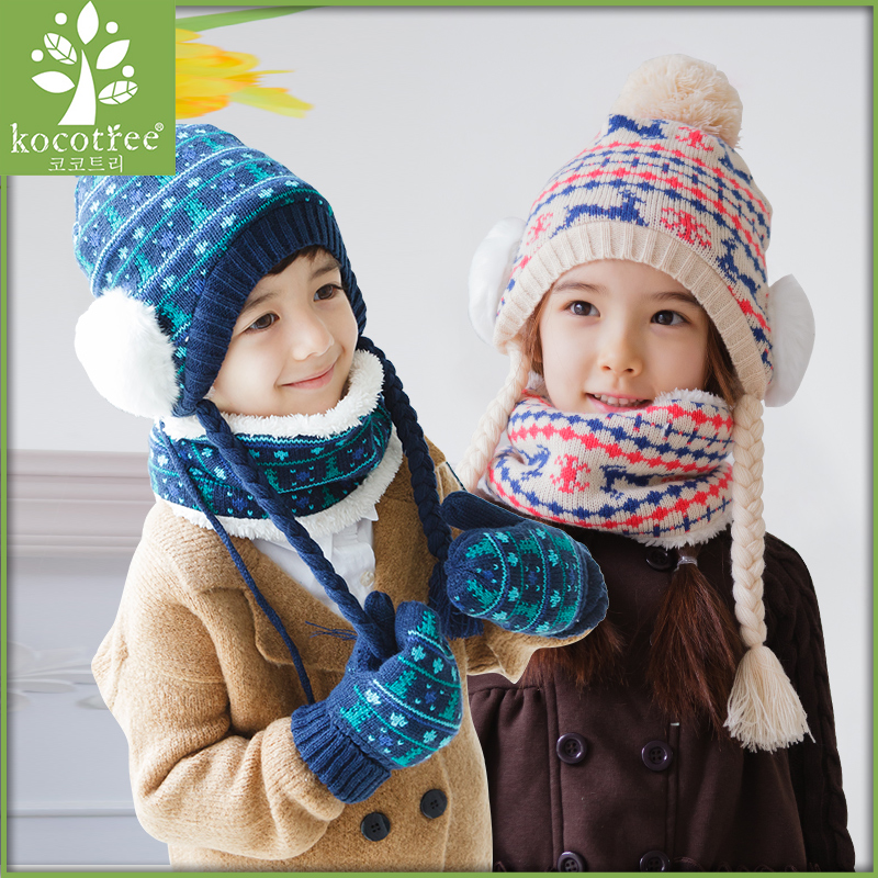 Korea kk tree baby hat winter hats scarves gloves three sets of boys and girls fall and winter children warm suit
