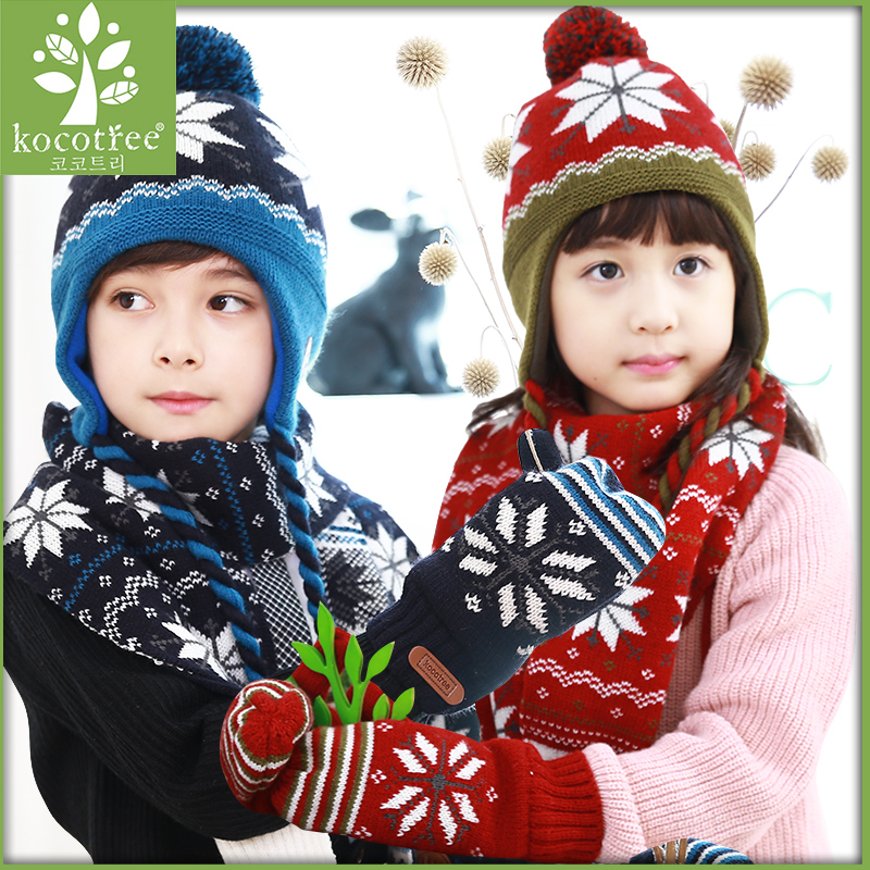 Korea kk tree fall and winter children's hat baby hats for men and women paul warm hat scarf piece children's scarves scarf