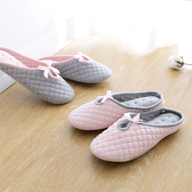 Korea lovely autumn and winter bow thick warm indoor machine washable cotton slippers for men and women home slippers soft bottom slip