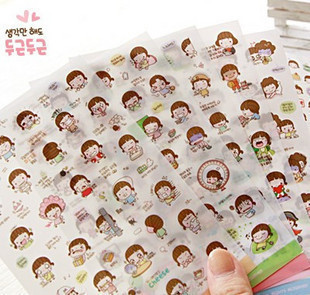 Korea stationery cartoon cute girl momoi transparent decorative stickers 6 into the diary notes stickers