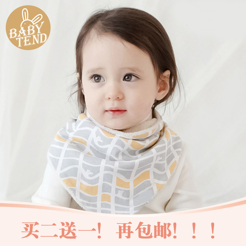 Korean autumn and winter plus thick velvet baby bibs bibs triangle children bibs waterproof bib baby warm scarf