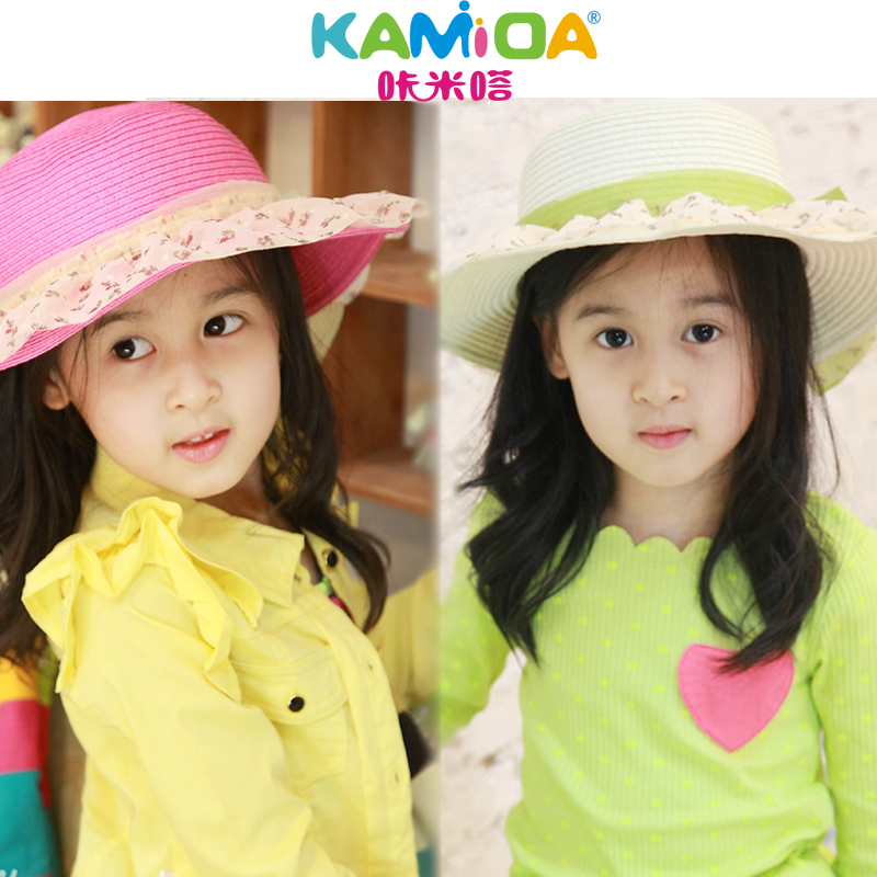 Korean bow straw hat children hat baby hat summer sun hat summer hat summer beach hat girls