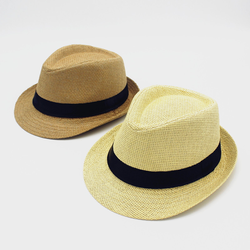 Korean children gentleman hat hat beach hat sun hat to cover the spring and summer casual hat paternity straw hat for men