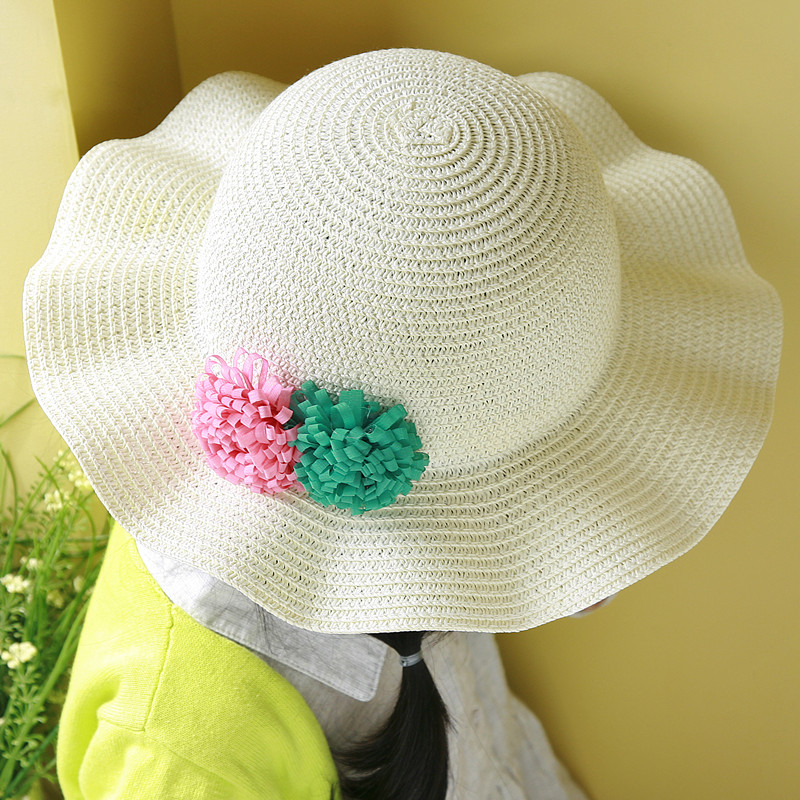 Korean children in baby girls summer hat straw hat sun visor cap child hat beach hat straw hat free shipping