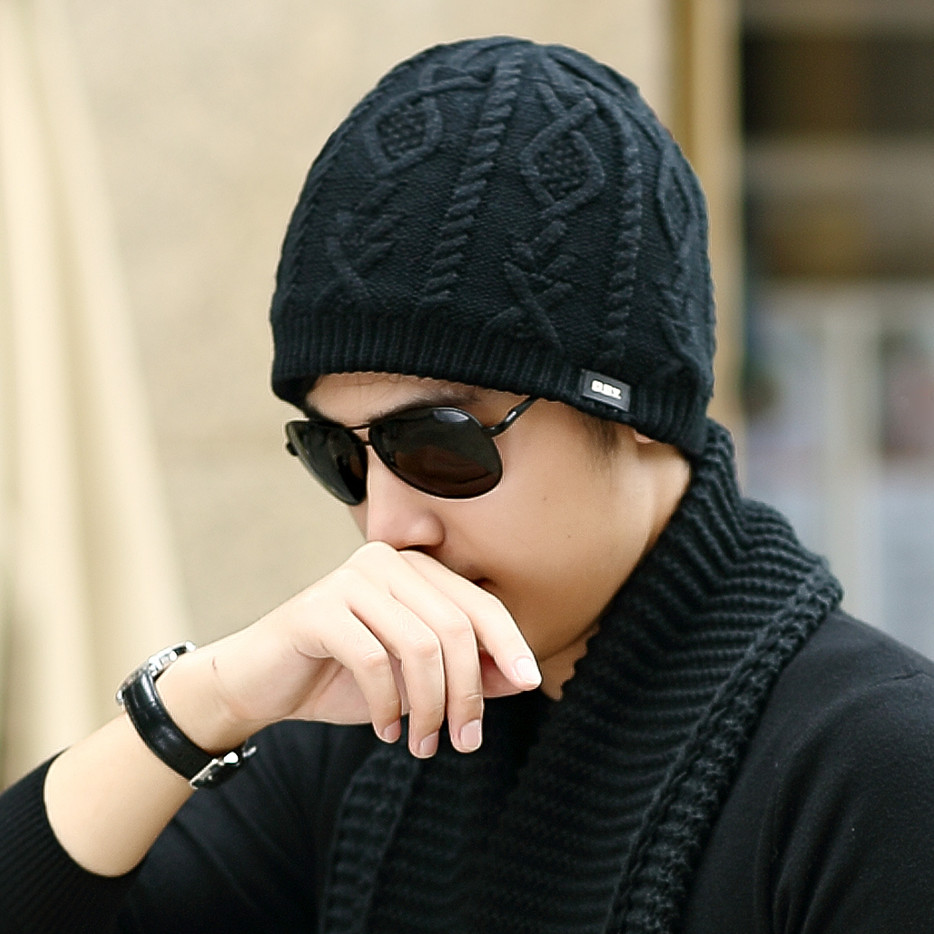 c22cdb12e4e Get Quotations · Korean cotton cap winter hats for men plus velvet thick wool  hat knitted hat winter hat