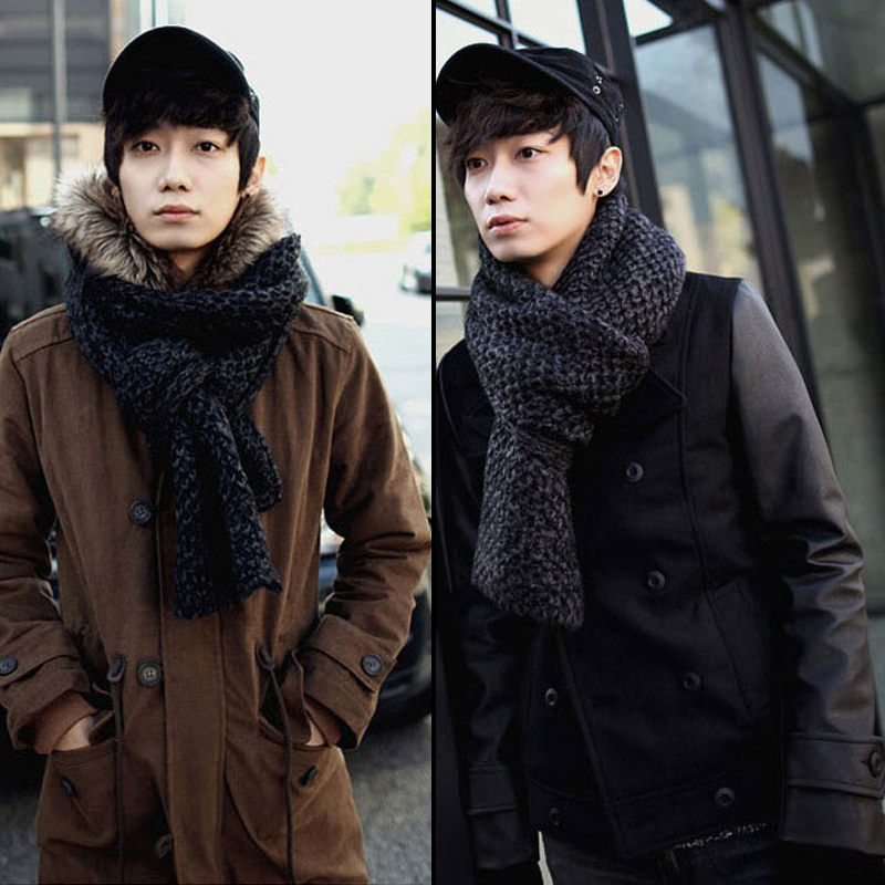 Korean couple solid thick wool scarf female autumn and winter thick knit winter korean version of plaid scarf male student