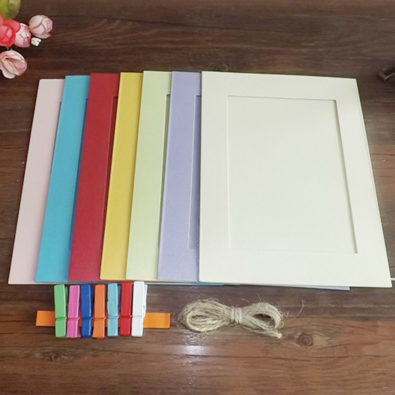 Korean creative combination of 7 inch fluorescent color paper photo frames hanging wall photo wall to send the clip rope shipping