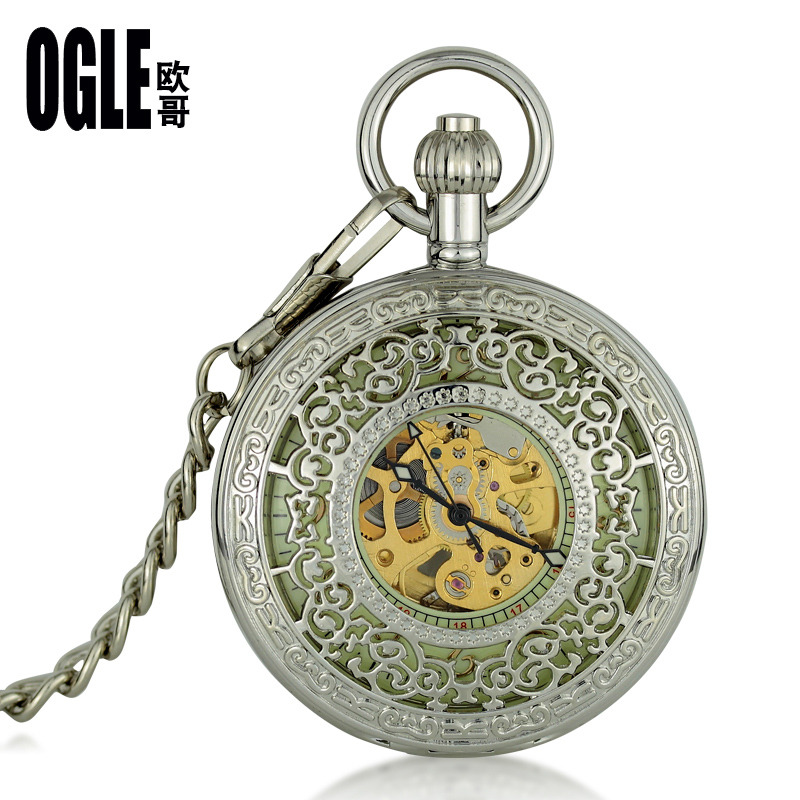 Korean fashion automatic mechanical pocket watch vintage understand clamshell fashion hollow carved pocket watch pocket watch pocket watch pocket watch luminous custom