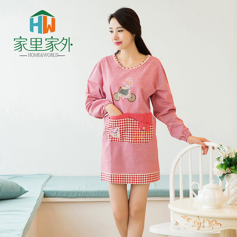 Korean fashion gowns adult oilproof home free shipping lovely long sleeve cotton antifouling kitchen cooking aprons custom aprons