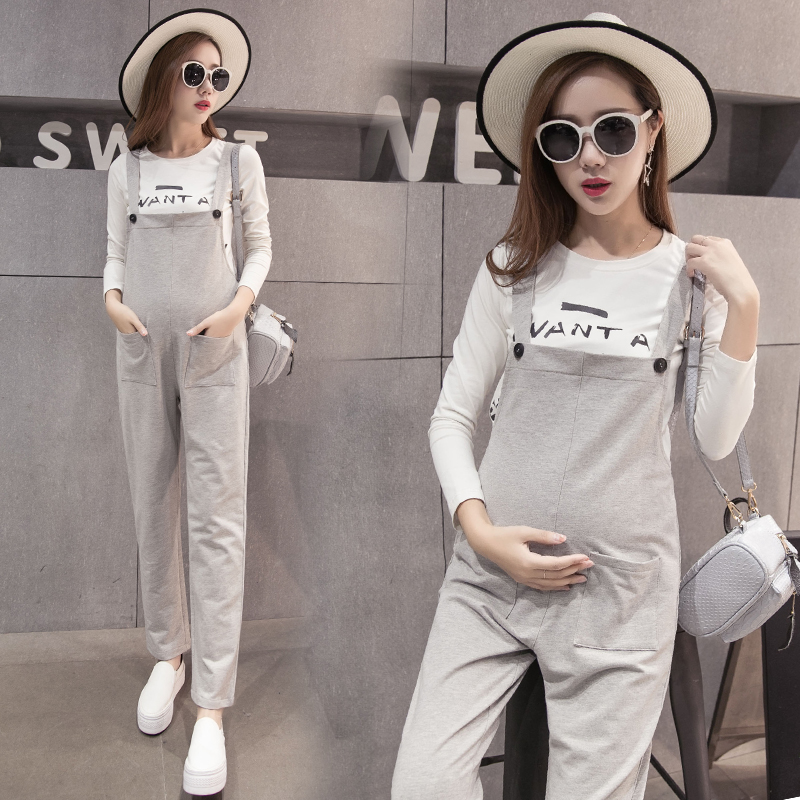 Korean fashion maternity care of pregnant women pregnant belly pants trousers spring pregnant women overalls big yards loose maternity pants autumn paragraph