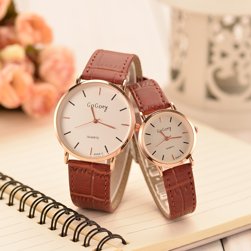 Korean fashion trend simple couple watches men watch female students korean version of casual retro belt quartz watch