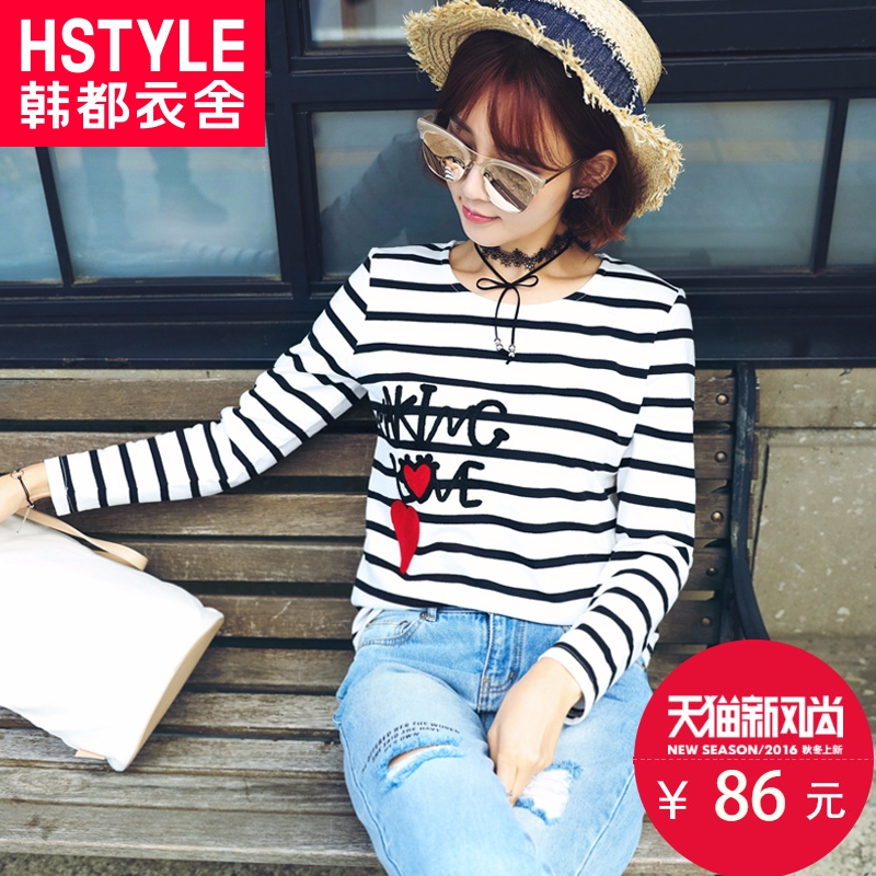Korean homes have clothes 2016 korean version of the new women's long sleeve t-shirt loose round neck t new autumn embroidery pattern letters article