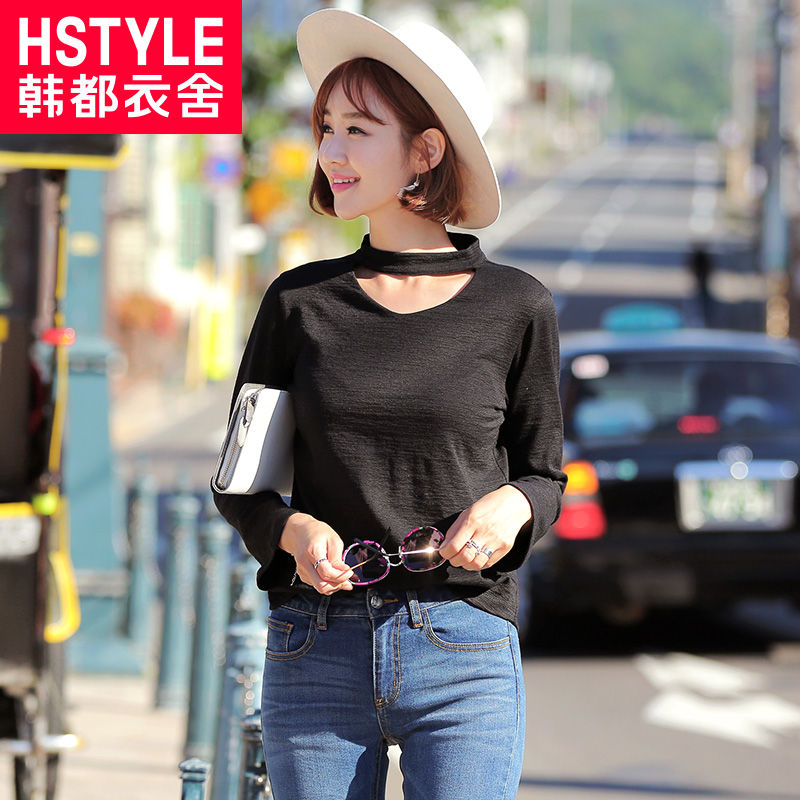 Korean homes have clothes 2016 korean women hitz loose blouse hollow long sleeve t-shirt wild DL6287 zhe
