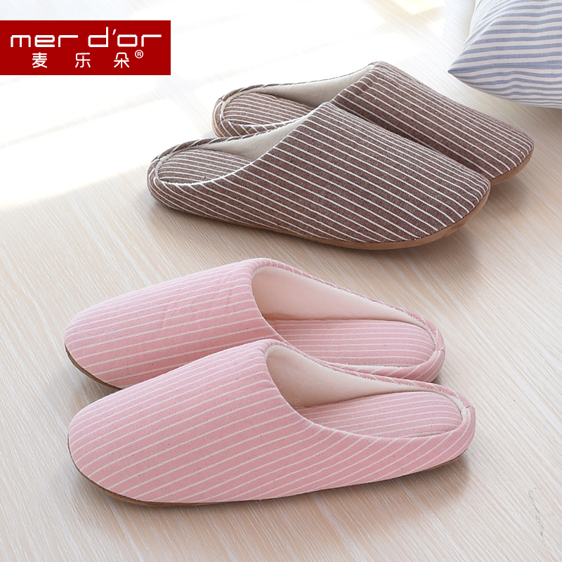 Korean striped female couple autumn and winter home cotton slippers floor home interior home skid cotton slippers women