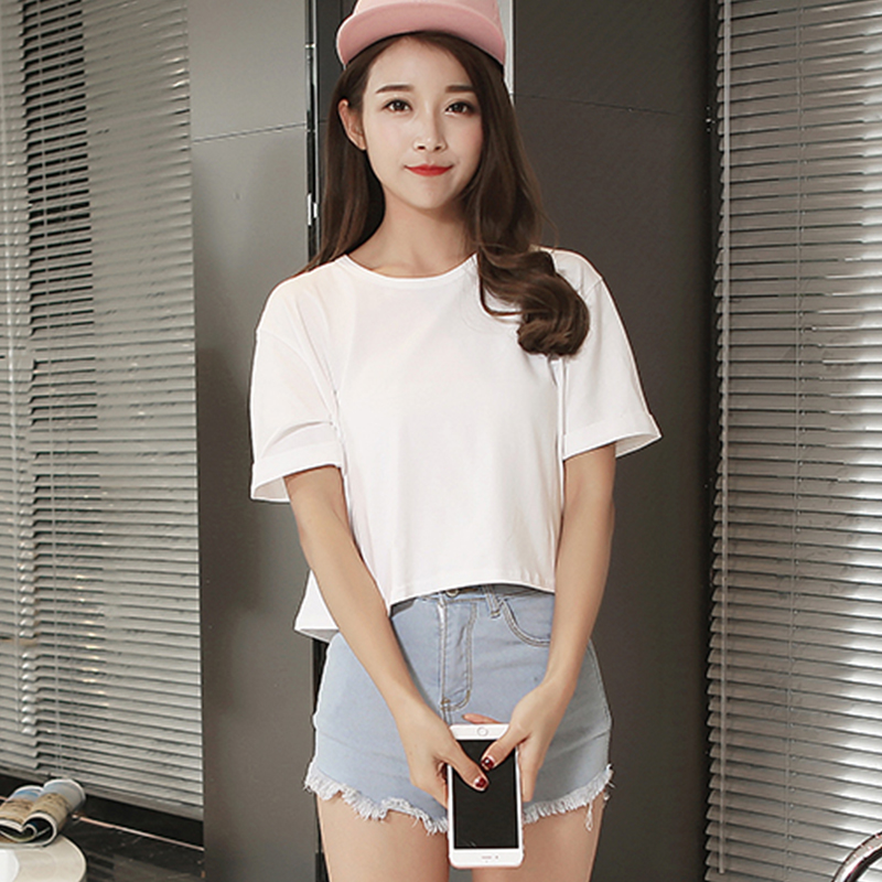 Korean summer paragraph solid short section of loose t-shirt female summer small fresh student simple round neck short sleeve blouse lo shi