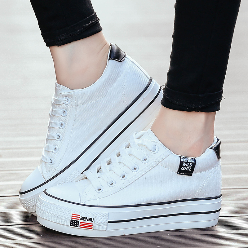 42ba969a4127 Get Quotations · Korean version of bamboo low to help women shoes autumn shoes  women shoes tide bottomed increased