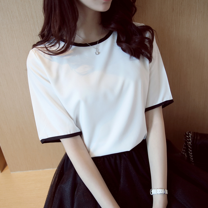 Korean version of bf wind harajuku style short sleeve t-shirt female loose white summer 2016 korean student simple wild korean fan