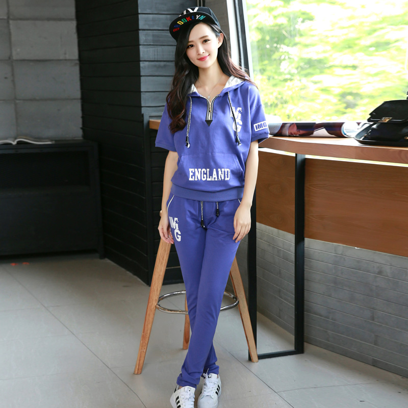 Korean version of casual sports suit casual piece pants 2016 summer new sports suit women