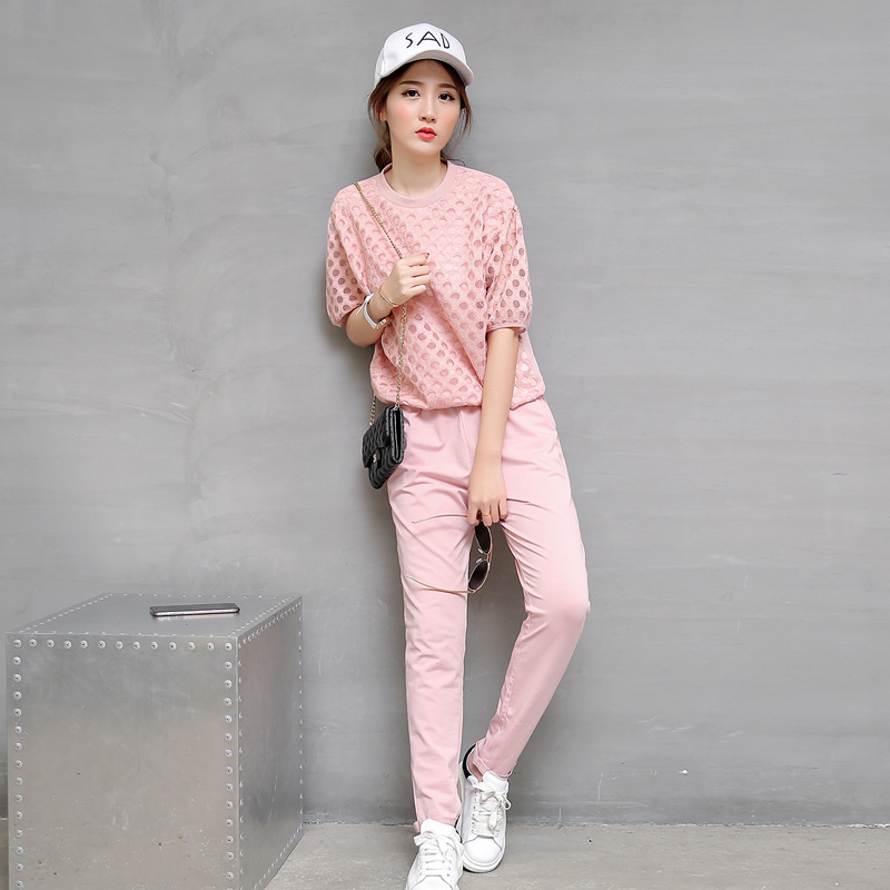 Korean version of casual sports summer sports suit leisure sports suit two piece suit new models pants 2016 ladieswear