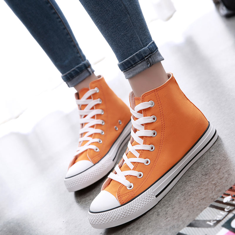 Korean version of college wind fashion candy color high shoes color canvas shoes female student flat shoes casual shoes tide
