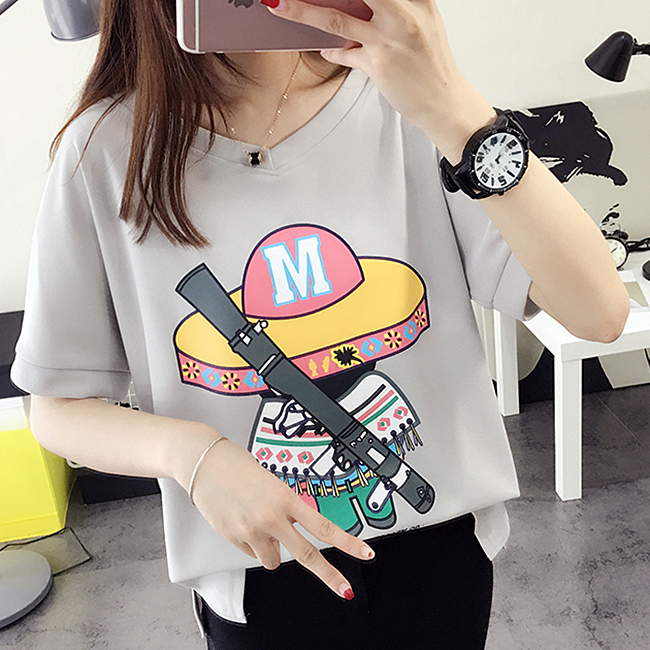 Korean version of compassionate women loose cartoon personality short sleeve t-shirt female half sleeve female clothing female summer influx of female clothes