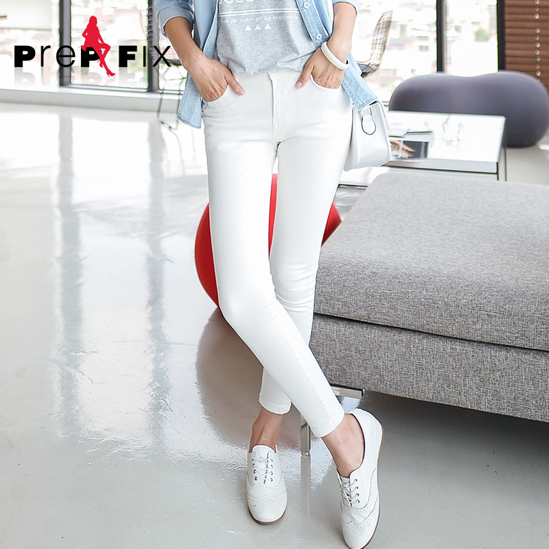 Korean version of prep & fix ladieswear feet stretch was thin nine points jeans female spring and summer influx of blue and black