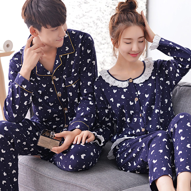 Korean version of spring and autumn long sleeve 2 sets price tan yun summer casual cotton pajamas couple home service men and ladies suits