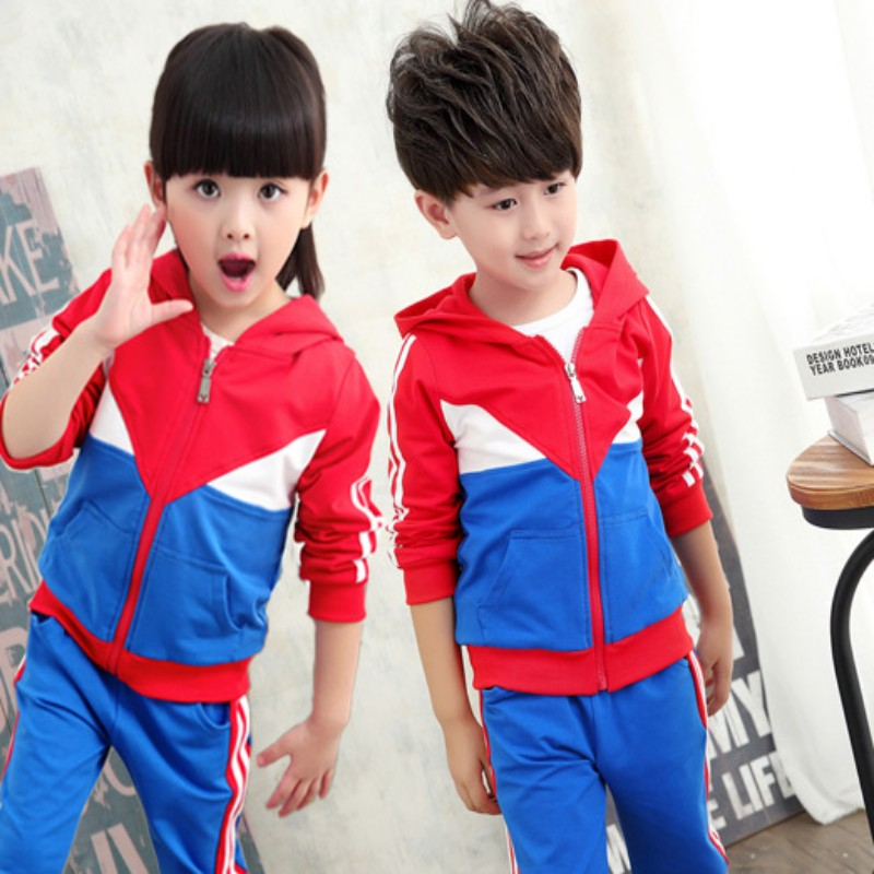 Korean version of spring kindergarten students dress uniforms for men and women long sleeve with the new primary and secondary school uniforms sportswear