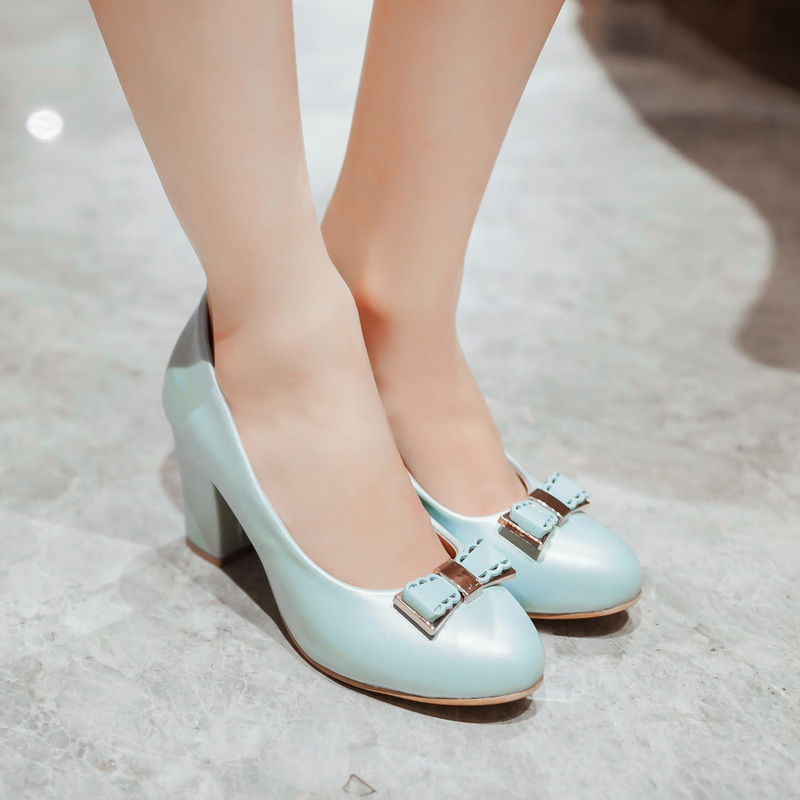 Get Quotations · Korean version of sweet crude with high heels shoes  women s singles round shallow mouth bow low 781ea8a3cb46
