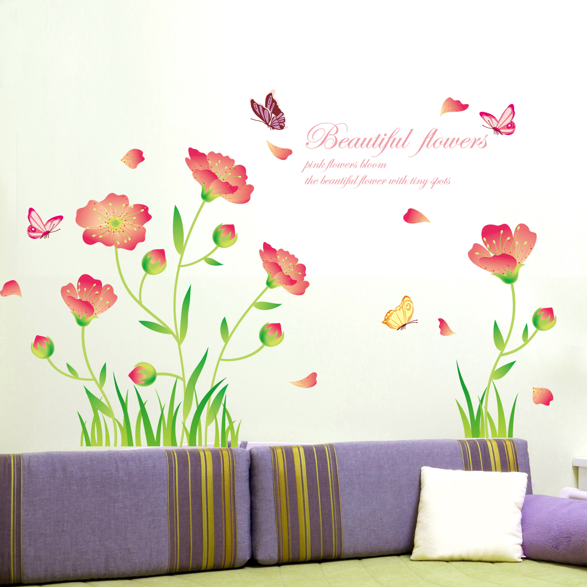 Beautiful korean bedroom - Beautiful wall stickers for living room ...