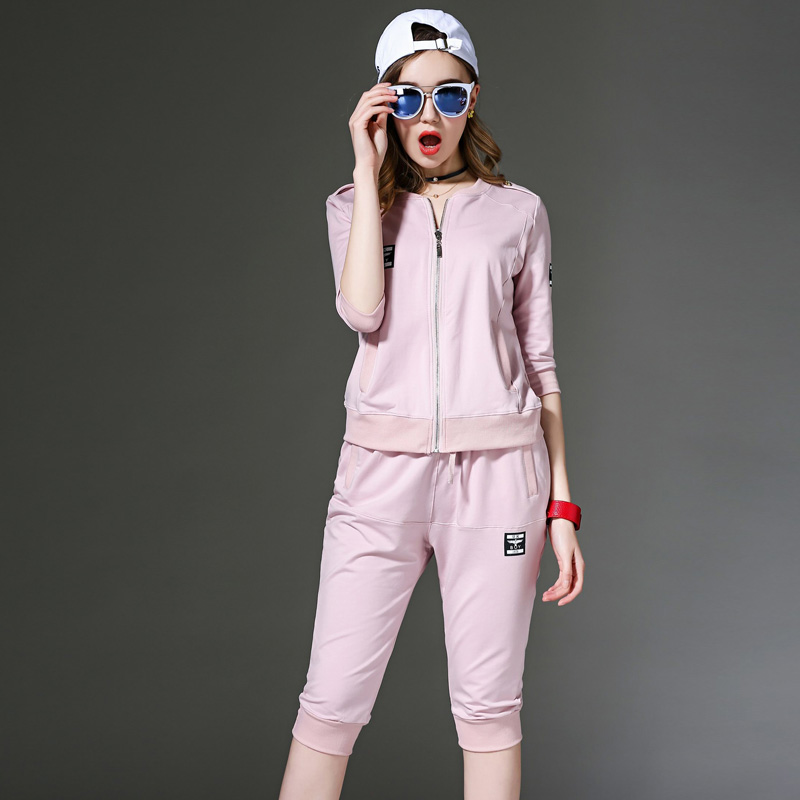 Korean version of the beginning of summer paragraph small children summer leisure suit women's sports suit summer summer slim short