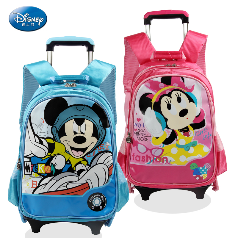 Korean version of the disney mickey primary school children's shoulders burdens cute removable removable trolley bags for male and female