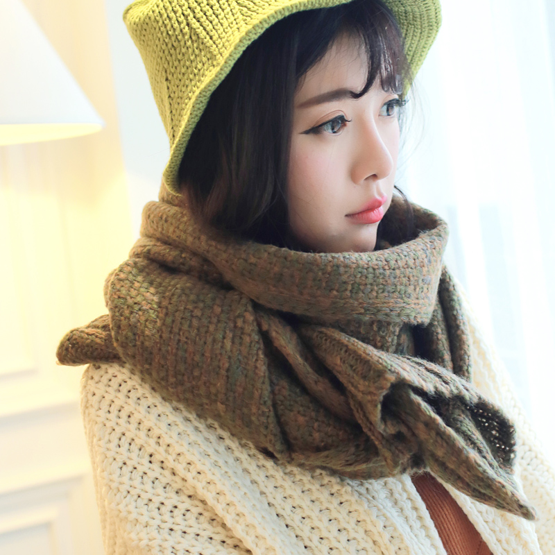 Korean version of the fall and winter days around the united states mixing of men and women students warm winter wool scarf knitted scarf lovers