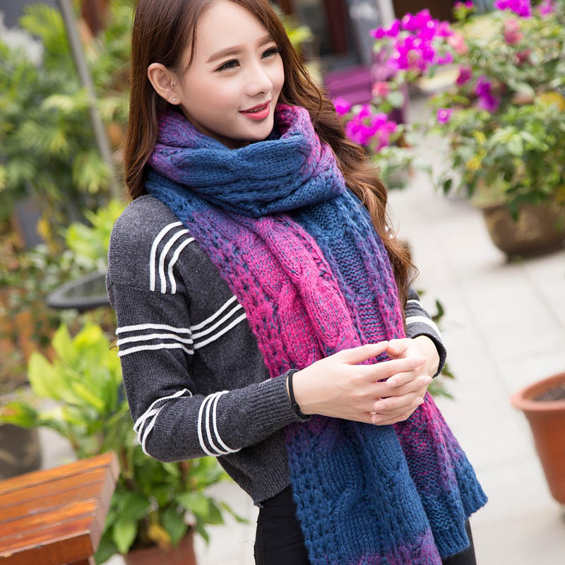 Korean version of the fall and winter days ms. gradient twist thick wool scarves warm shawl color coarse wool scarf men