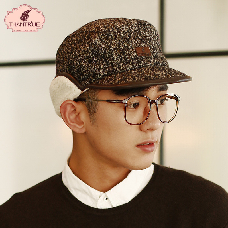 Korean version of the influx of men wool cap flat brimmed hat male couple in autumn and winter warm ear cap ski hat
