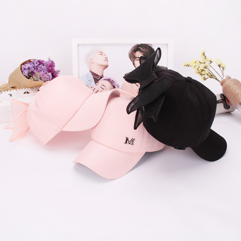 Korean version of the large organza bow sweet pink m standard shade benn hip hop baseball cap spring and summer hat paternity