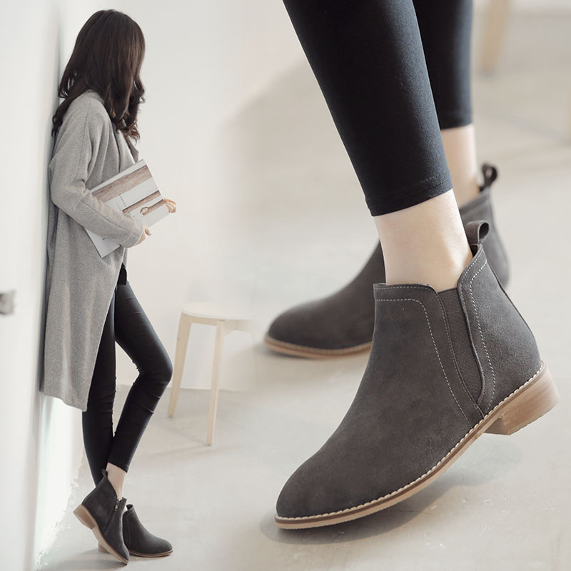 Korean version of the leather boots thick with martin pointed boots boots seasons single boots female boots in autumn and winter new matte leather boots naked boots