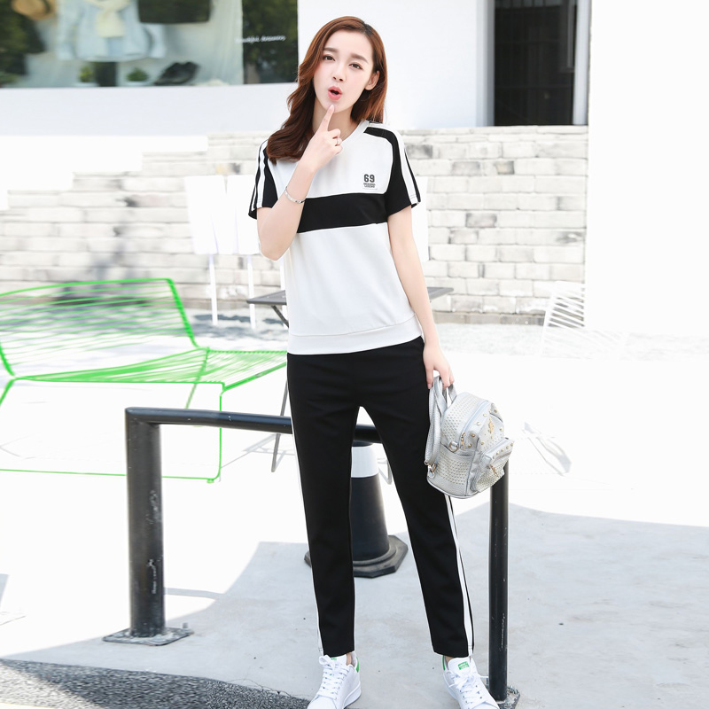 Korean version of the leisure suit women's sports pants sports suit two piece suit 2016 new summer casual sports