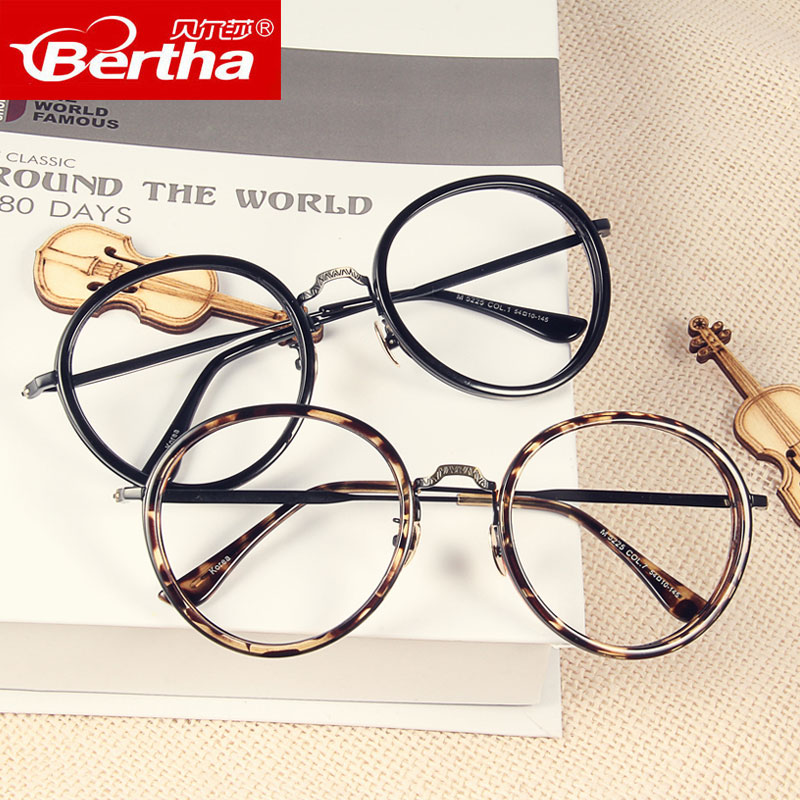 Korean version of the literary retro round glasses frame female tide big box retro fashion decorative eye eye frames male myopia ultralight