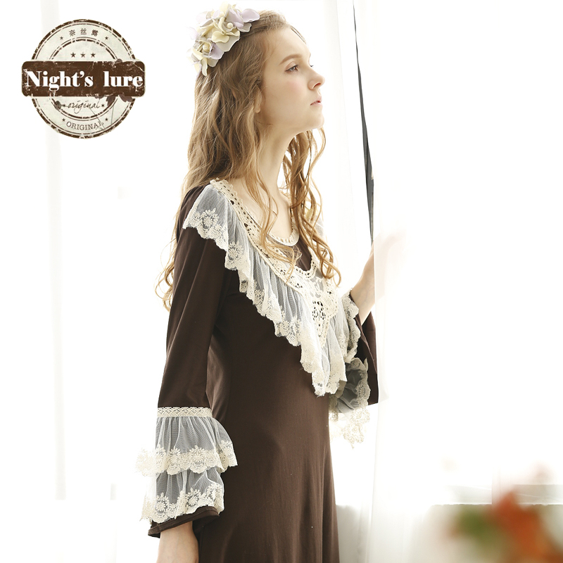 Korean version of the long section of lace long sleeve princess nightgown girls tracksuit ms. pajamas summer dress retro palace