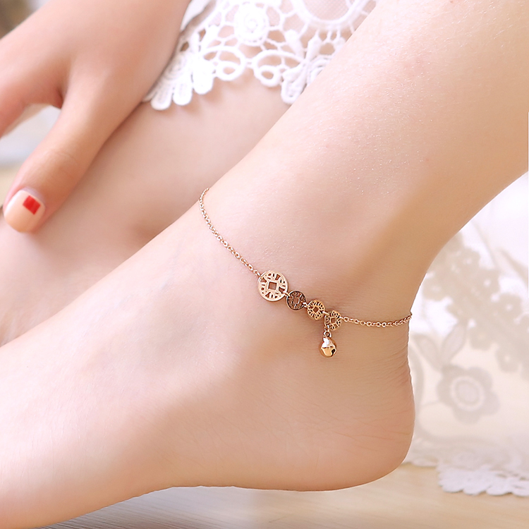 Korean version of the lovely copper k rose gold plated coin bell anklets female color gold titanium steel korean fashion jewelry gift